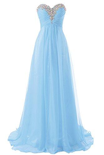 Abendkleider Ballkleider Lang Damen Brautjungfernkleid Festkleider Chiffon A Linie Himmelblau EUR50