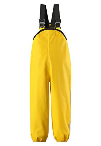 Reima Kinder Regenhose Lammikko Yellow – Regenhose für Kinder mit verstellbarem Bund – wasserdichte Matschhose mit verstellbaren Hosenträgern – Größe 110