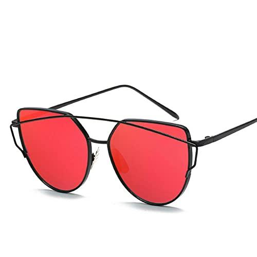 Gafas De Sol Mujeres Moda Gato Ojo Gafas De Sol Mujeres Lente De Espejo De Lujo Vintage Gafas De Sol Rosa Oro Metal Uv400 Oculos-Black Red