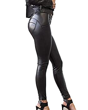 SEASUM Women s Faux Leather Leggings Pants PU Elastic Shaping Hip Push Up Black Sexy Stretchy High Waisted Tights L