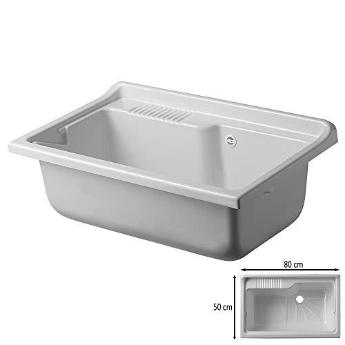 Vasca lavatoio Lavanderia, 80x50 cm, in termoformatura Bianco, Ideale per Esterno