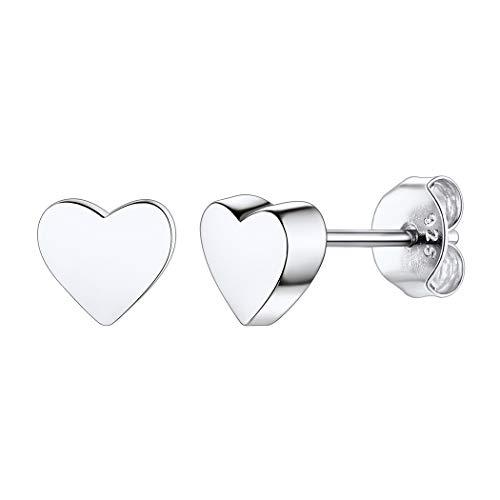 Corazón de Amor Pendientes de Mujeres Chapado en Oro Blanco Aretes Piercing Plata de Ley 925 Joyerías Románticas de Día Valentín Aniversario de Novias