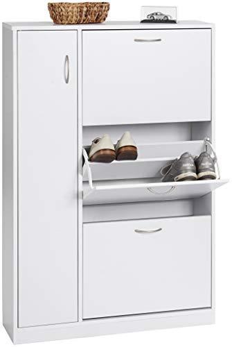 ts-ideen - Zapatero de madera blanco ideal para baño, pasillo o vestíbulo, con 3 compartimentos + 1 puerta, 120 x 80 cm
