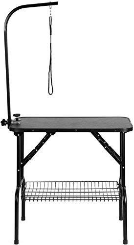femor Hund Trimmtisch Schertisch fürs Badezimmer Pflegetisch für Haustier inklusiv höhenverstellbar Galgen und Korb (Schwarz)