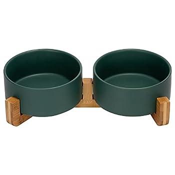SPUNKYJUNKY Gamelle Double en céramique avec Support en Bambou pour Chat et Chien (850ml, Vert)
