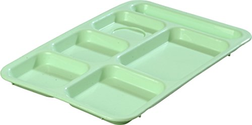 Carlisle P614R09 Right-Hand 6-Compartment Polypropylene Tray, 10' x 14', Green