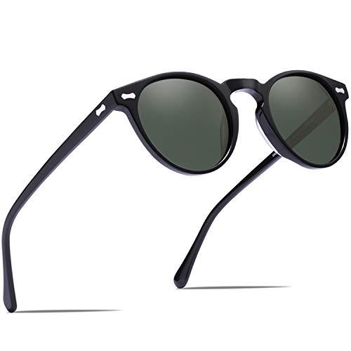 Carfia Lunettes de Soleil Polarisées Hommes Mode Rond Rétro Vintage Protection UV 400 pour Conduire Pêcher Voyager