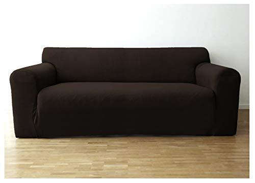 Bellboni® Couchhusse, Sofabezug, bi-elastische Stretchhusse, Spannbezug für viele gängige 2er Sofas, braun