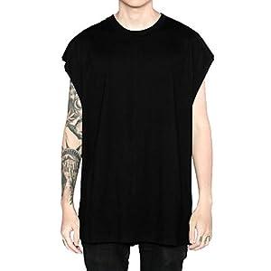 COZOEN Tシャツ メンズ 夏 ノースリーブ tシャツ ブラウス 無地 薄手 コットン ヒップホップ オーバーサイズ シンプル ゆったり 大きいサイズ トレンド ファッション 4色