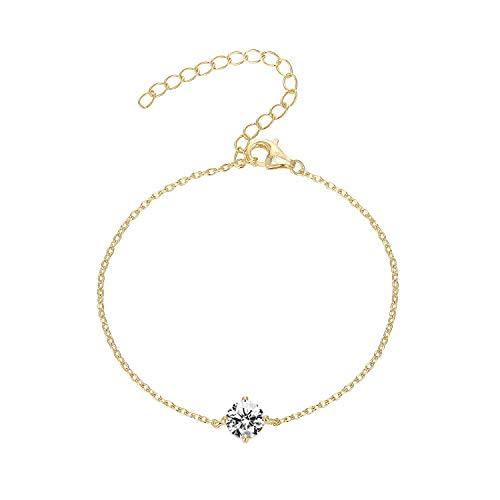 PAVOI 14K Gold Plated Cubic Zirconia Solitaire Diamond Bracelet   Bridesmaid Bracelets   Yellow Gold Bracelets for Women