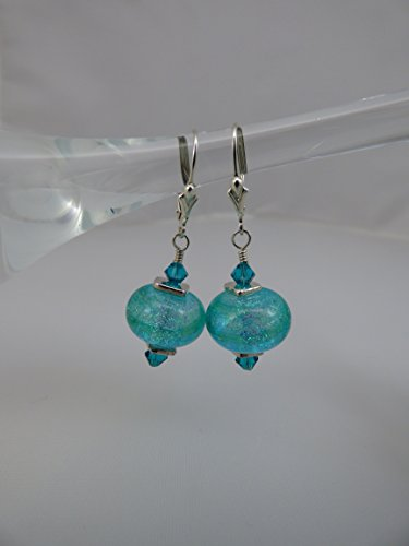 Blue Green Dichroic Artisan Lampwork Earrings with Swarovski Crystal Accents and Sterling Silver Leverback Ear Wires