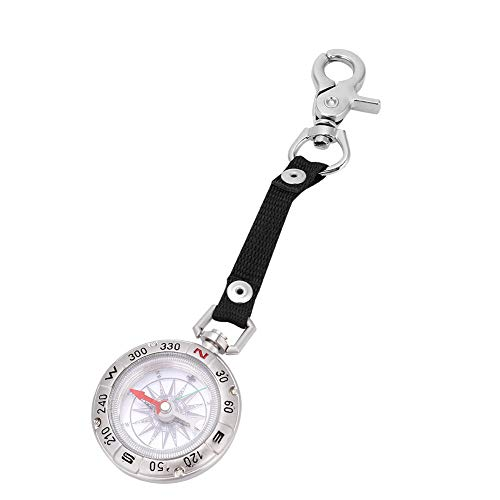 Mini Boussole Compass avec Porte-clés Portable en Alliage Boussole Montre de Poche pour Voyage Camping Navigation Randonnée Pêche Guide d'outil
