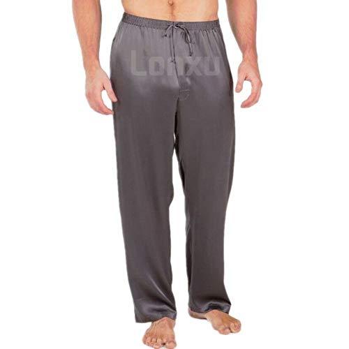 Pijamas de satén de Seda para Hombres Pijamas Pantalones de chándal 4 3XL