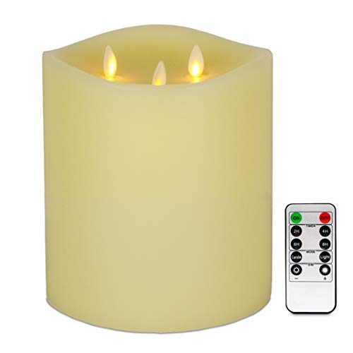 """AGLARY LED Flameless 6""""x 6"""" Pillar Candles,Vanilla Scent 3 Moving Wick Electric Candles with Remote Control, Timer Function, Ivory"""