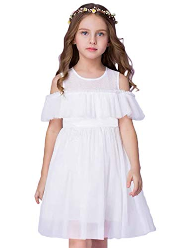 Flower Girl Dress White Tulle Wedding Party A line Kids Princess Off Shoulder Birthday Party Chiffon Beach Cool Dress 1-12Y