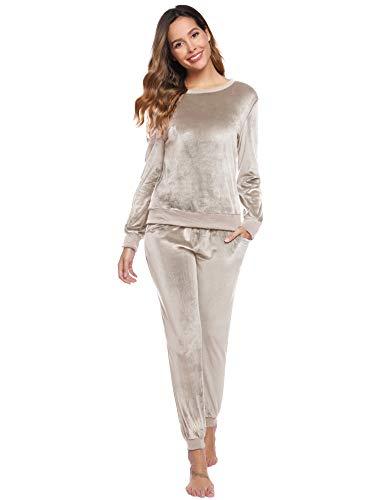 Abollria Damen Velours Hausanzug Weich Warm Samt Pyjamas Zweiteiler Freizeitanzug mit Taschen Nicki Oberteil+Hose für Winter, Beige, L