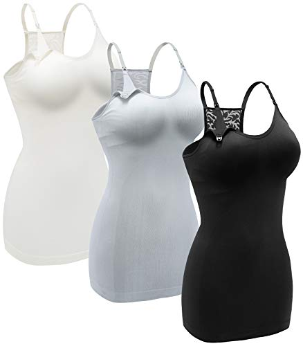 DAISITY Women's Nursing Tank Top Cami Maternity Bra Breastfeeding Shirts with Lace Back Color Black Grey White Size L Pack of 3