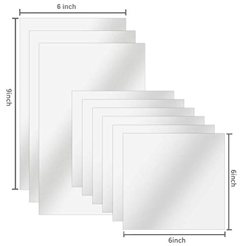 BUYGOO 9Pcs Flexible Mirror Sheets, 3Pcs 6