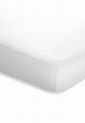 schlafgut Jersey-Elasthan Topper Spannbetttuch, Baumwoll-Mischgewebe, Weiss, 220 x 150 cm