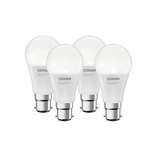 Osram Smart+ Lampadina LED Bluetooth Compatibile con Apple Homekit e Android. Goccia, B22D, 60 W Equivalenti, Luce Colorata RGBW, 4 Pezzi