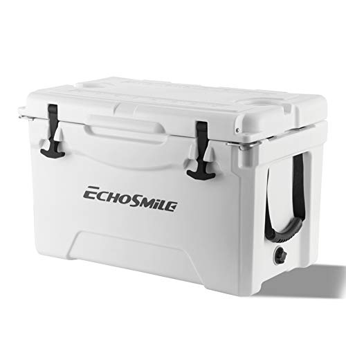 EchoSmile Rotomolded Cooler, 5 Days Portable Ice Chest, 35QT White Cooler with Built-in Cup Holdes, Bottle Openers, and Fish Ruler, Suit for Camping, Picnic, BBQ and Other Outdoor Activities