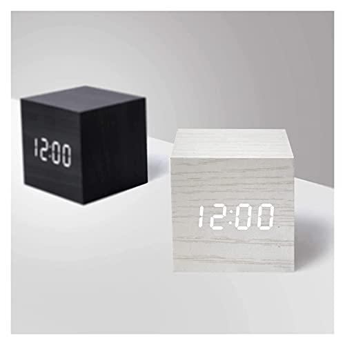 QIXIAOCYB Reloj de Alarma Digital de Madera DIRIGIÓ Cubo Moderno Multifuncional Ligero Muestra la Temperatura de la Fecha for el Viaje en el hogar (Color : White)