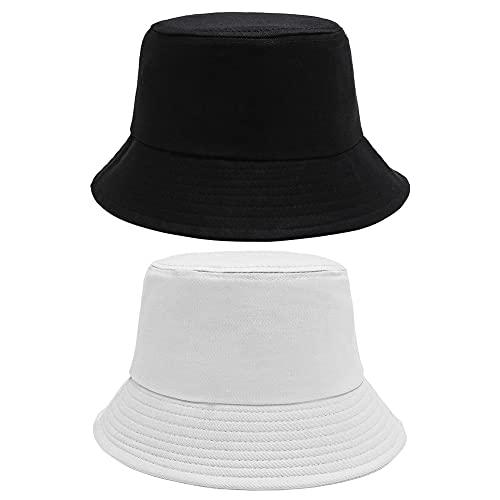 Hilloly Sombrero de Pescador, 2 Piezas Hombre Gorro de Pescador Sombrero de Sol Plegable de Algodón Sombrero de Pescador Protección Solar para Compras y Viajes, 60cm(Negro y Blanco)