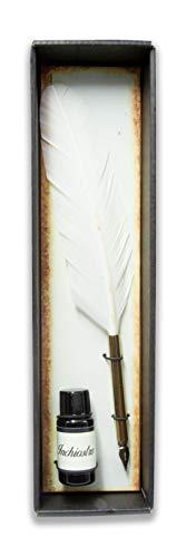 Bolígrafo con pluma de oca auténtica – Tinta incluida – Fabricado en Italia (blanco)