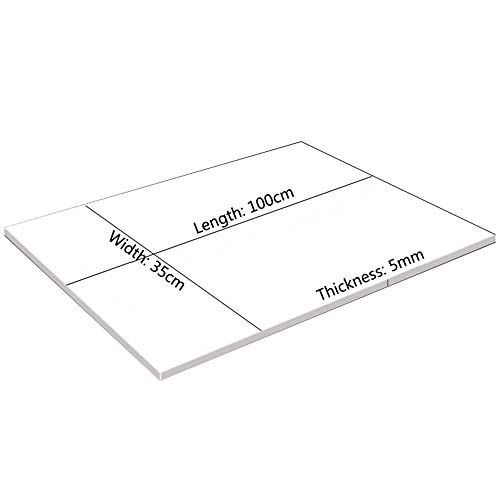 YOUMU EVA Foam Sheets Kids Handmade DIY Craft Cosplay Model 1~10mm Thickness (35cm x 100cm x 5mm, White)
