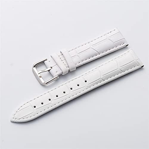 LIANYG Correa De Reloj Reloj Banda Correa de Cuero desplegable Hebilla Pulsera marrón Negro Reloj de Relojes 15-23mm 493 (Band Color : White, Band Width : 17mm)