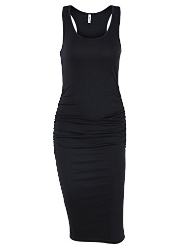 Missufe Women's Ruched Bodycon Sundress Midi Fitted Casual Dress (Black, Large)
