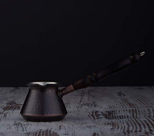 DEMMEX - 266 ml dickste türkische, griechische arabische Kaffeekanne aus gehämmertem Kupfer mit Holzgriff & Holztopf Löffel, für 3 Personen (antikes Kupfer)