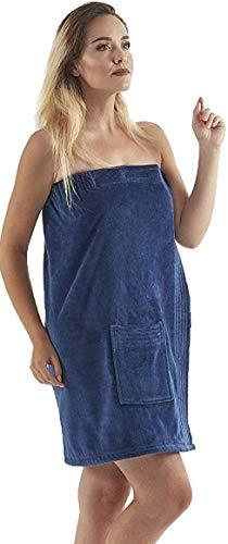 CundB Damen Wickeltuch – 100prozent Bio-Baumwolle, verstellbar, für Spa, Fitnessstudio, Pool, mit Tasche, Marineblau