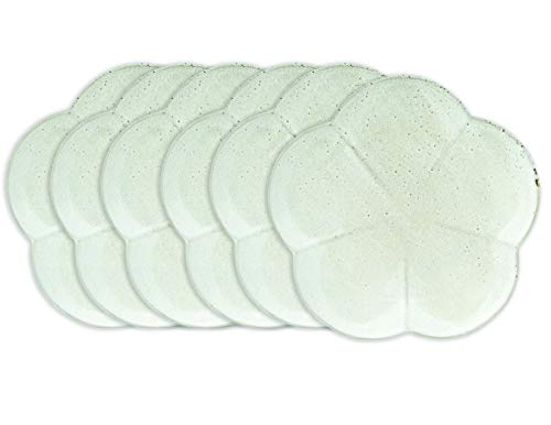 Creative Co-op 7.75' Round Flower Shaped Stoneware Reactive Glaze Finish (Set of 6/Each one Will Vary) Plates, Grey