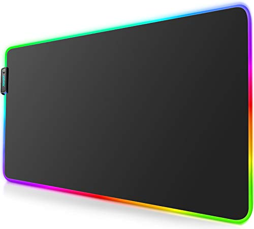 RGB Gaming Mouse Pad Mat - Led Mouse Pad with Durable Stitched Edges and Non-Slip Rubber Base, High-Performance Mouse Pad Optimized for Gamer, Suitable for MacBook, PC, Laptop, Desk (31.5X11.8in)