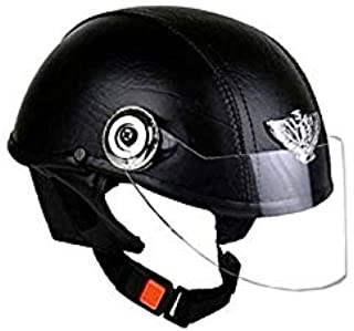 GTB Women's Leather Open Face Helmet (Black)
