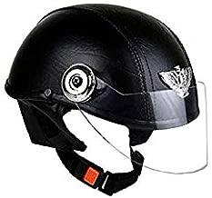 GTB Women's Leather Open Face Helmet (Black)