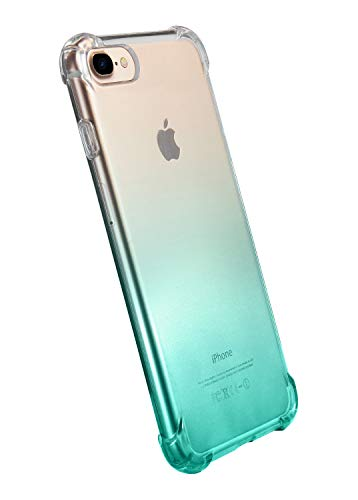 """iPhone 7 Case,iPhone 8 Case,CLONG iPhone 7/8 Colorful Clear Shockproof Protective Cover Transparent Soft TPU Gel Cases for Apple iPhone 7/8 4.7""""- Gradient Mint Green"""