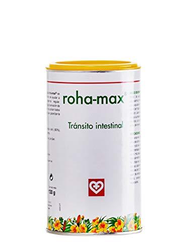 Roha MAX - Complemento alimenticio para regular tránsito intestinal, bote 130 g, hojas de sen, aromas de hibisco, regaliz y menta, masticable o infusión