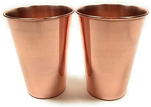 Kamla Sellers - Juego de 2 vasos de cobre puro (99,74%) para servir agua, para ayudar a la salud