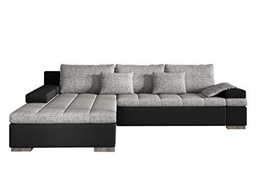 Design Ecksofa Bangkok, Moderne Eckcouch mit Schlaffunktion und Bettkasten, Ecksofa für Wohnzimmer, Gästezimmer, Couch L-Form, Wohnlandschaft, (Ecksofa Links, Soft 011 + Lawa 05)