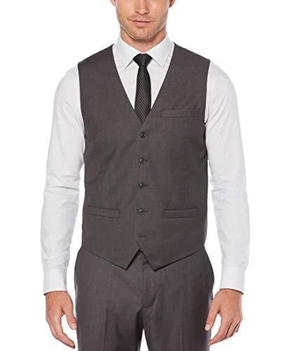 Perry Ellis Men's Solid Vest, Charcoal Heather, XX-Large