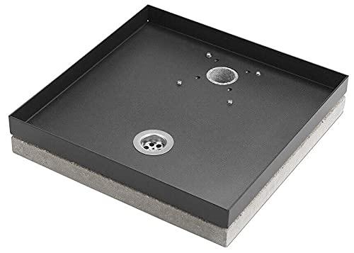 belfer Base Portaciottolo per Fontane 40x40x8 cm in Metallo con Base in Cemento 42/BSE/10 Antracite
