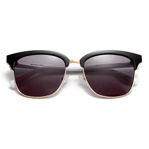 ZENOTTIC Clásico Gafas de Sol Medio Marco para Mujer Hombre Gafas de Sol Retro (C3 Marco Blanco de Borde Dorado/Lente Marrón)
