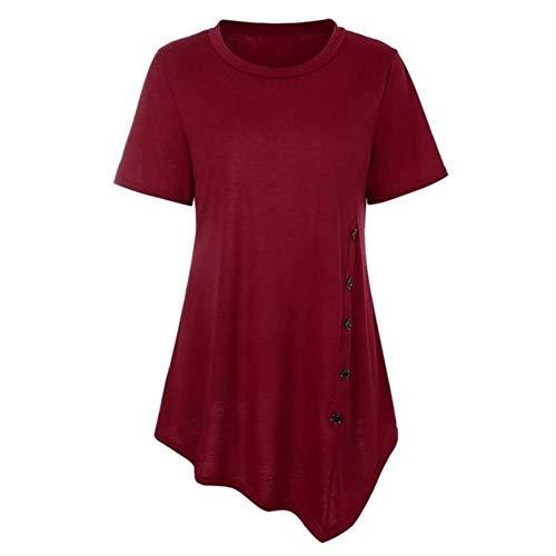 Tua Sommer-Tunika für Damen, Rundhalsausschnitt, Knopfleiste, kurzärmelig, Chiffon-Bluse Gr. Large, rot