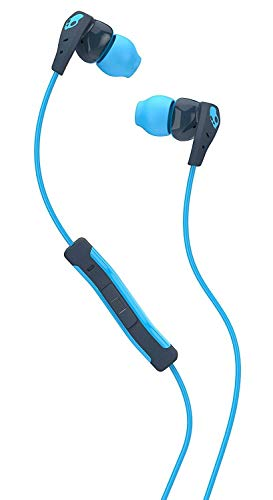 Skullcandy Method Sweat Resistant Sport Earbud with In-Line Microphone and Remote, Lightweight and Secure In-Ear Fit for Running and Exercise, Cable Management Clip for Workouts, Navy