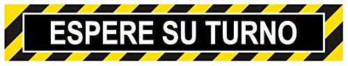 Pack 20 ud. Pegatina suelo impreso Antideslizante Espere su turno- Disponible en Español, Francés, Inglés y Alemán -Franja de 50 x 8,3 cm …