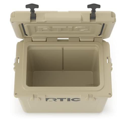RTIC Hard Cooler, 20 qt, Tan, Ice Chest with Heavy Duty Rubber Latches, 3 Inch Insulated Walls