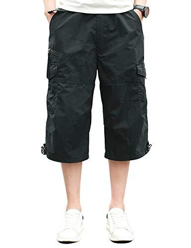 Homme Shorts Cargo Pantacourt Coton Multi Poches Loisirs 3/4 Short Casual Eté Noir 01 4XL
