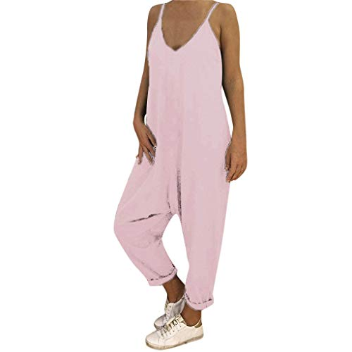 Toimothcn Womens Spaghetti Strap Jumpsuit Casual Loose Long Pant Trousers Playsuit Rompers Plus Size(Pink,XL)